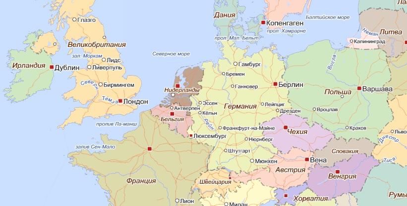 Где находится бельгия на карте европы