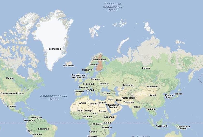 Финляндия занимает 64 место по площади.