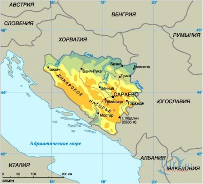 Карта Боснии и Герцеговины